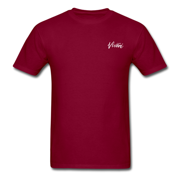 Unisex Chef Vivoni White Logo T-Shirt - burgundy