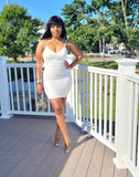 Ruched Bodycon Dress -White