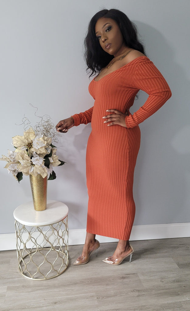All Angles Maxi Dress- Rust