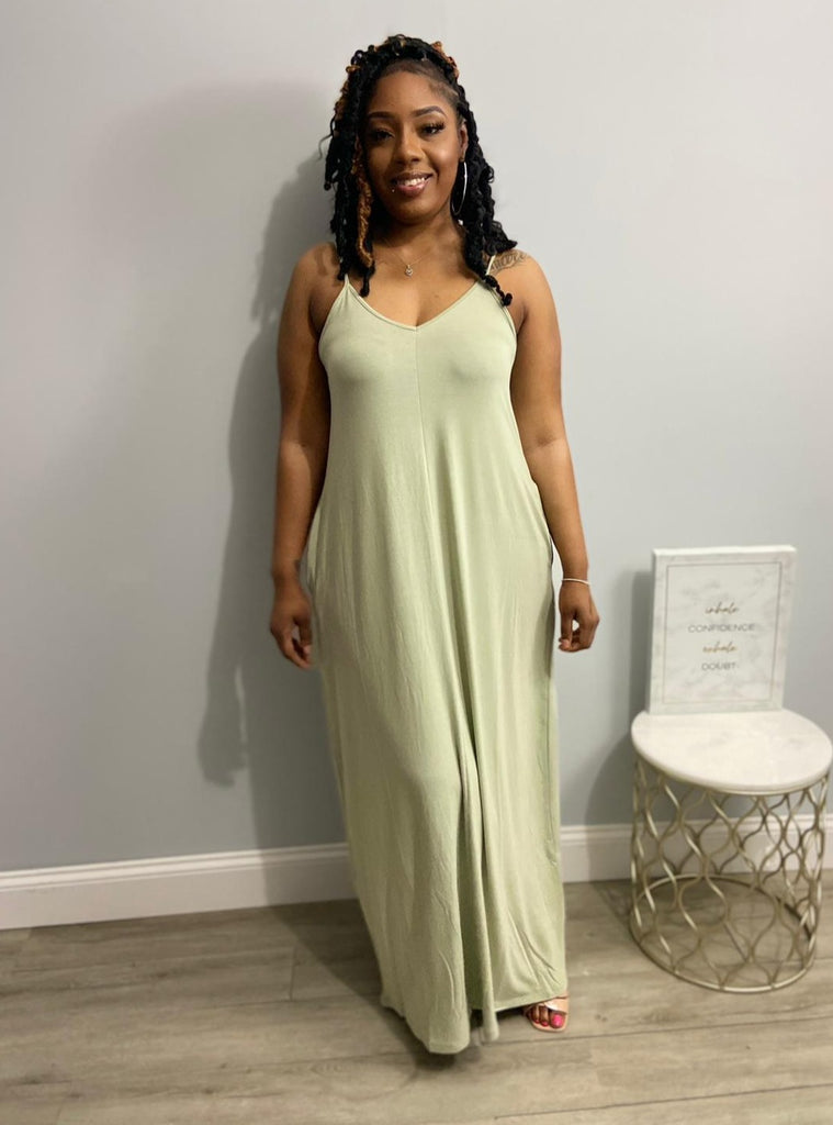 Lazy Slay Maxi Dress-Light Sage