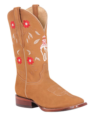 Olivia Escaramuza Square Toe Boot, [Mexico Artesanal