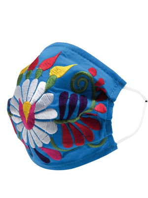 """Cubrebocas Para Adulto Con Flores Mexicanas Bordadas"" - ""Embroidered Adult Floral Mexican Face Mask"", [Mexico Artesanal"