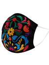 Cubrebocas Para Adulto Con Flores Mexicanas Bordadas - Embroidered Adult Floral Mexican Face Mask