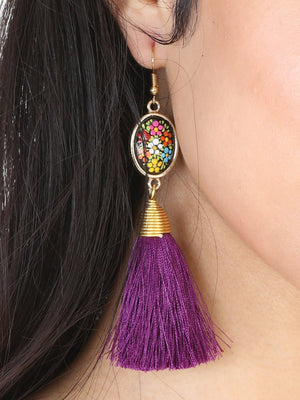 """Aretes Artesanales Ovalados Pintados A Mano Hilo De Seda"" - ""Hand Painted & Made Artesanal Oval Shape Silk Thread Tassel Earrings"", [Mexico Artesanal"