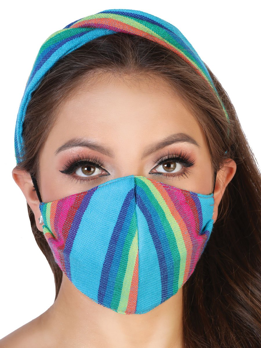 Set De Turbante Mexicano Y Cubrebocas Para Dama Con Elastico - Ladies Mexican Set Of Cambaya Turban With Matching Face Mask Elastic - Mexico Artesanal