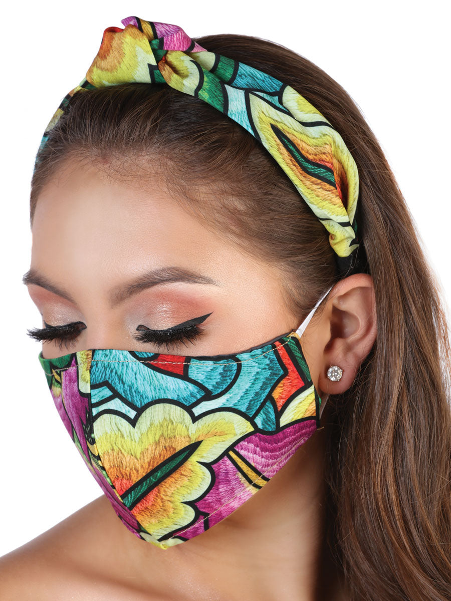Cubrebocas Y Diadema Tipica Mexicana Floral - Floral Printed Face Mask & Matching Top Knot Headband