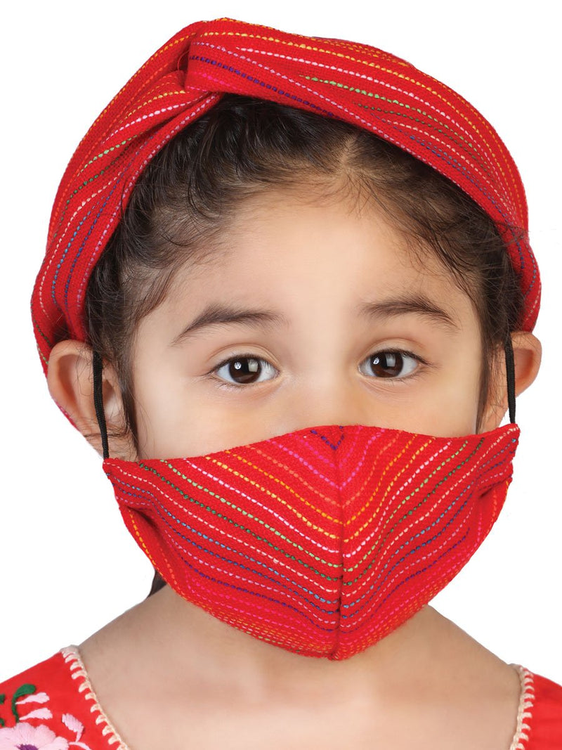 Set De Turbante Mexicano Y Cubrebocas Para Niña Con Elastico Disponible Para Mujer - Girl's Mexican Set Of Cambaya Turban With Matching Face Mask Elastic Available For Ladies Too - Mexico Artesanal