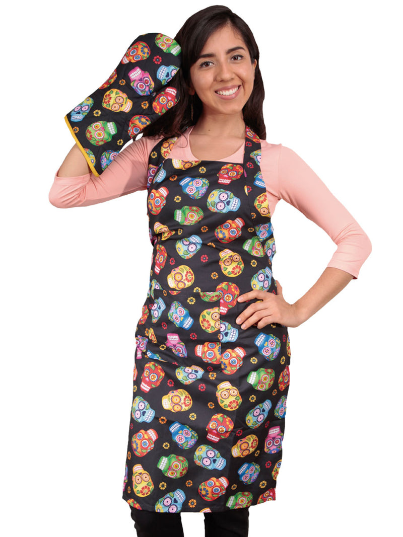 Mandil Del Dia De Los Muertos, Tortillero Y Guante Para Horno - Day Of The Dead Apron, Tortilla Warmer and Oven Mitt