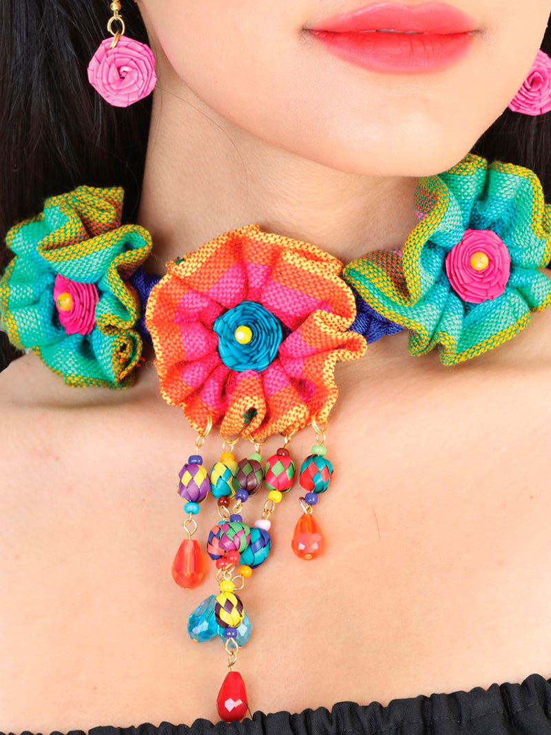 """Set De Collar Y Aretes Artesanales De Palma Cristal Flores De Zarape Multicolor"" - "" Artesanal Palm Leaves Crystals Serape Flowers Necklace & Earings Set"", [Mexico Artesanal"