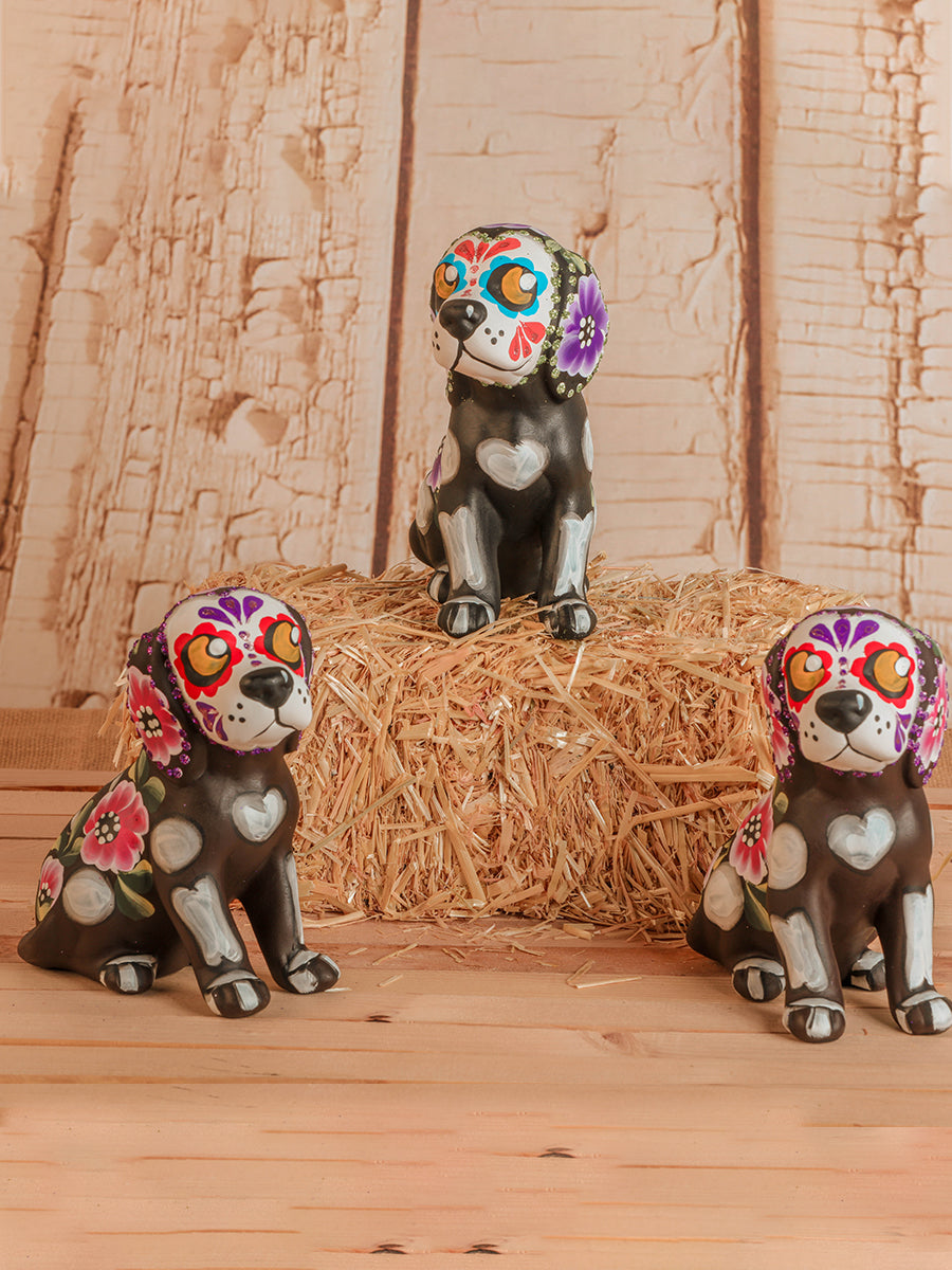 Ceramic Day Of The Dead Dog Piggy Banks