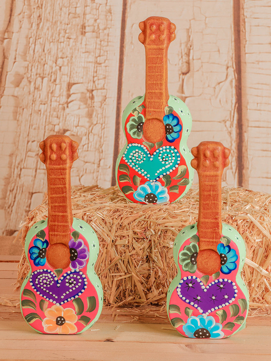 Ceramic Heart Guitar Piggy Banks