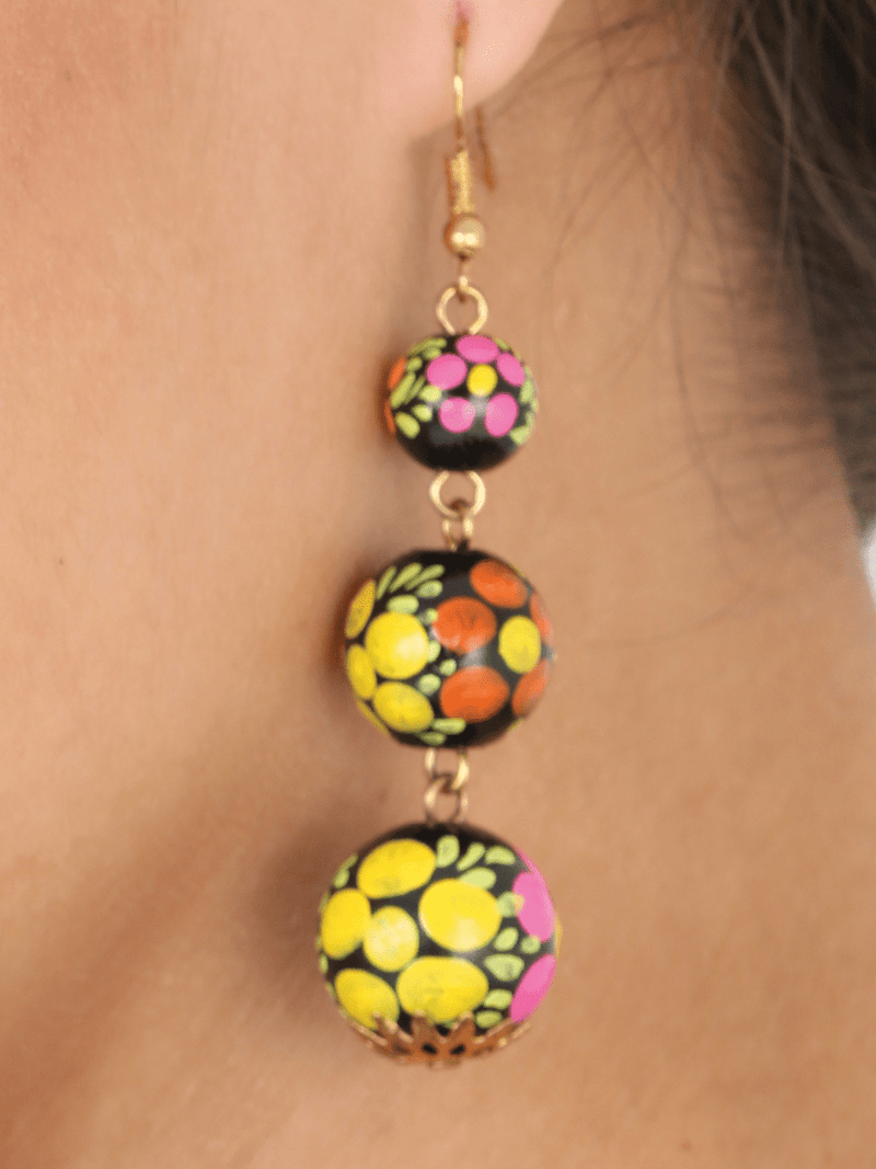 """Aretes Artesanales Pintados A Mano"" - ""Hand Painted & Made Artesanal Earrings"", [Mexico Artesanal"