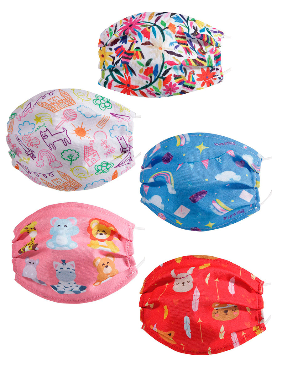 Paquete de 5 Cubrebocas Impresos Para Niña - Embroidered 5 Pack Face Mask For Girls - #45