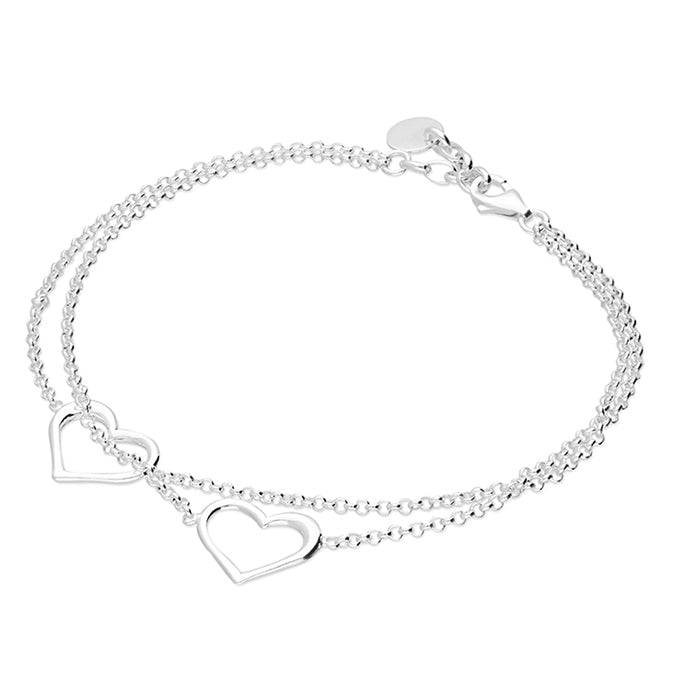 Sterling Silver Double Heart Bracelet