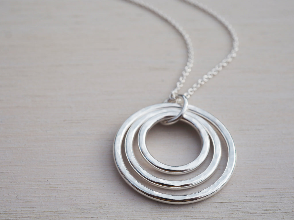 Triple Silver Circles Necklace, Sterling Silver, Hammered Finish