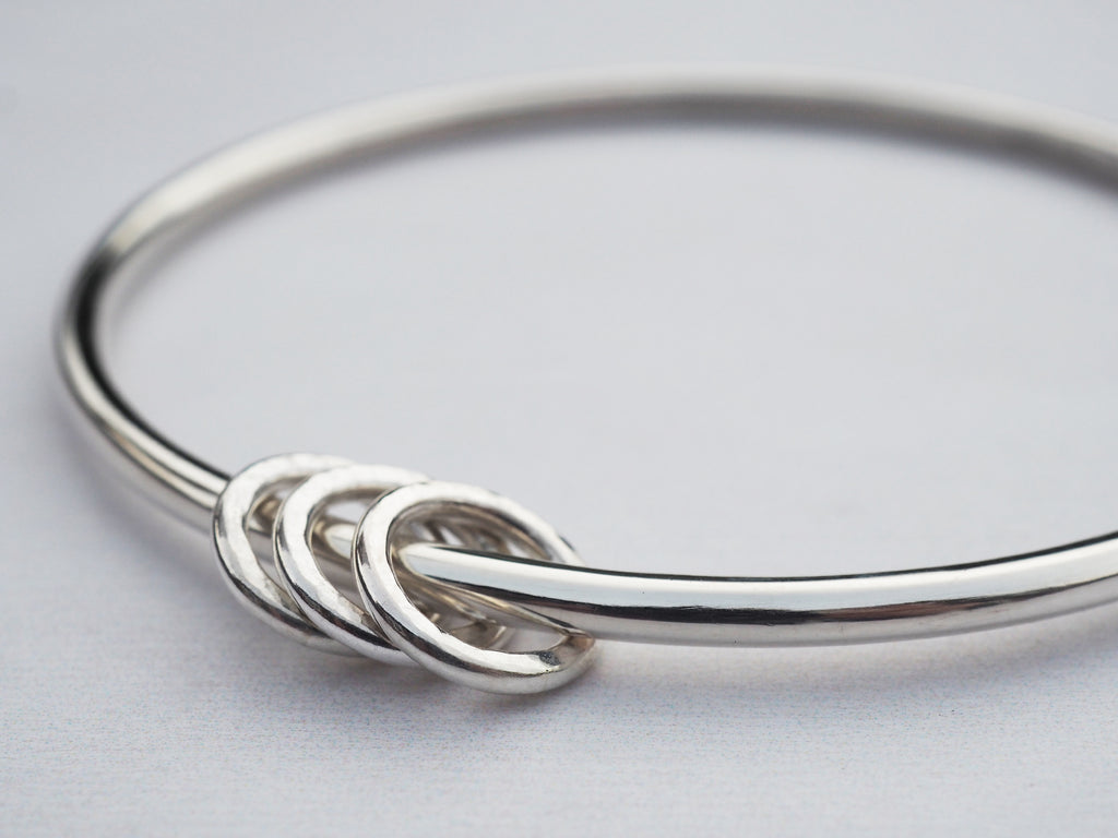 Solid Silver Bangle & Hammered Rings | Sterling Silver