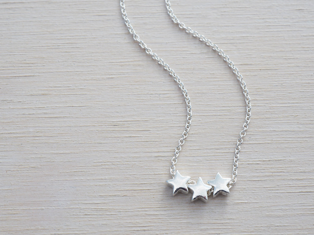 Tiny Silver Stars Necklace | Sterling Silver | 3 Stars