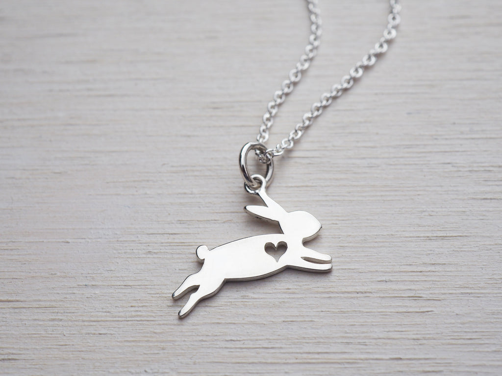 Tiny Silver Bunny Necklace | Heart | Childrens Jewellery | Sterling Silver