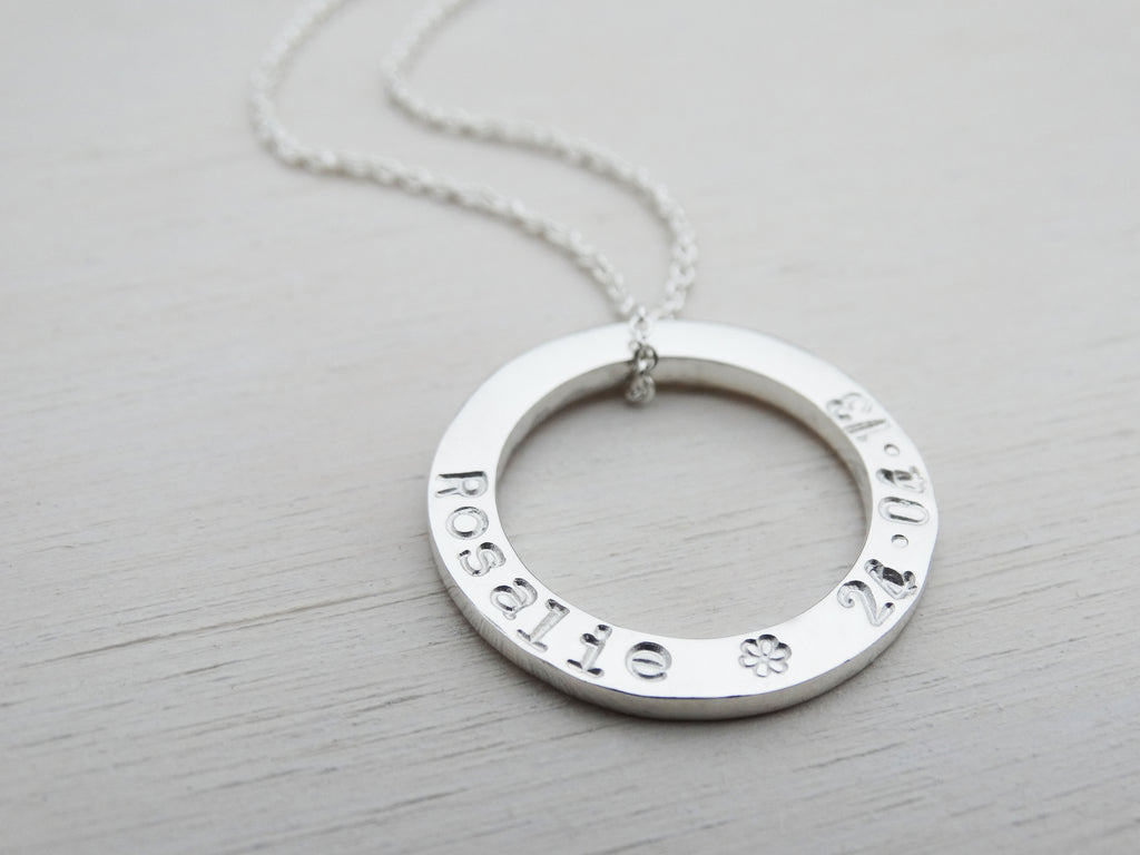 Personalised Silver Circle Necklace | Sterling Silver | Hand Stamped Names | Small
