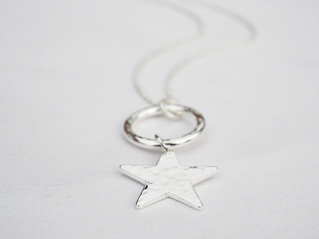 Silver Circle & Star Necklace | Sterling Silver