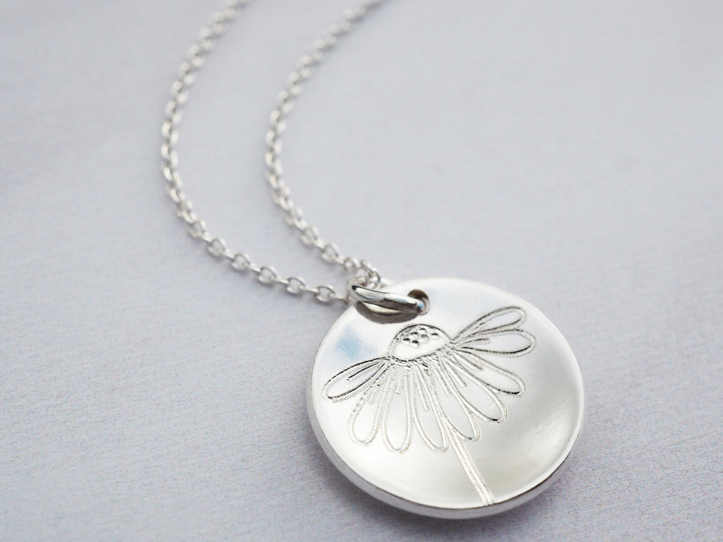 Silver Wildflower Necklace | Sterling Silver | Echinacea | Cone Flower