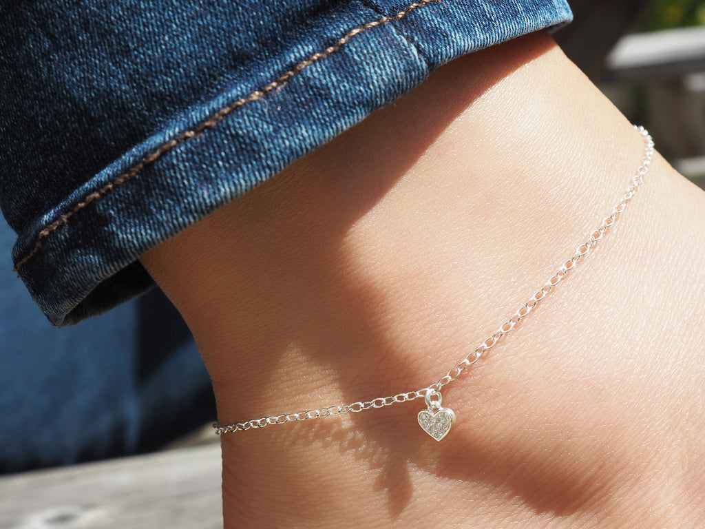 Tiny Silver Heart Anklet | Sterling Silver | Cubic Zirconia