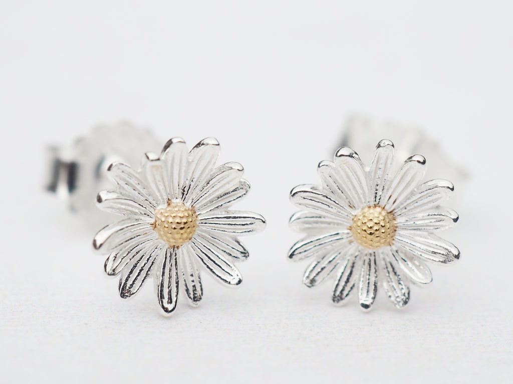 Sterling Silver & Gold Detail Daisy Studs