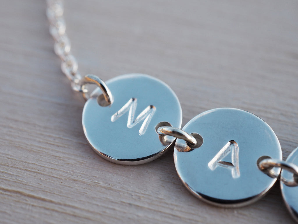 Personalised Silver Disc & Initial Bracelet | Sterling Silver