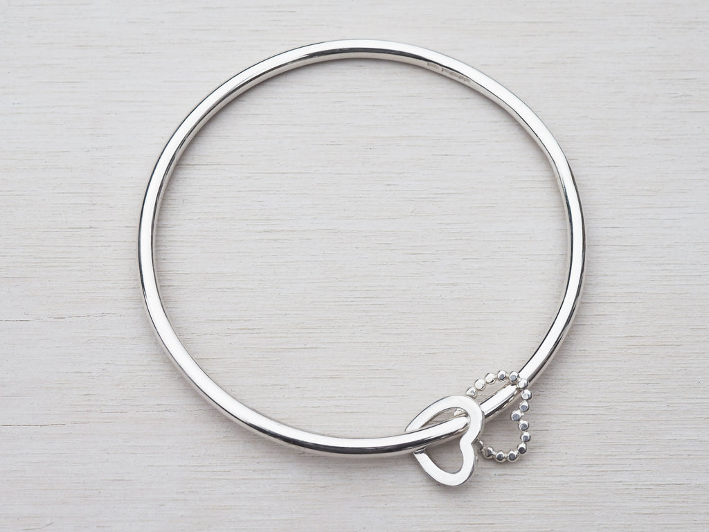 Solid Silver Bangle & Heart Charms | Sterling Silver