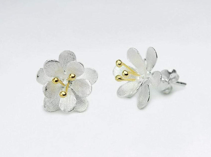 Sterling Silver & Gold Detail Flower Studs
