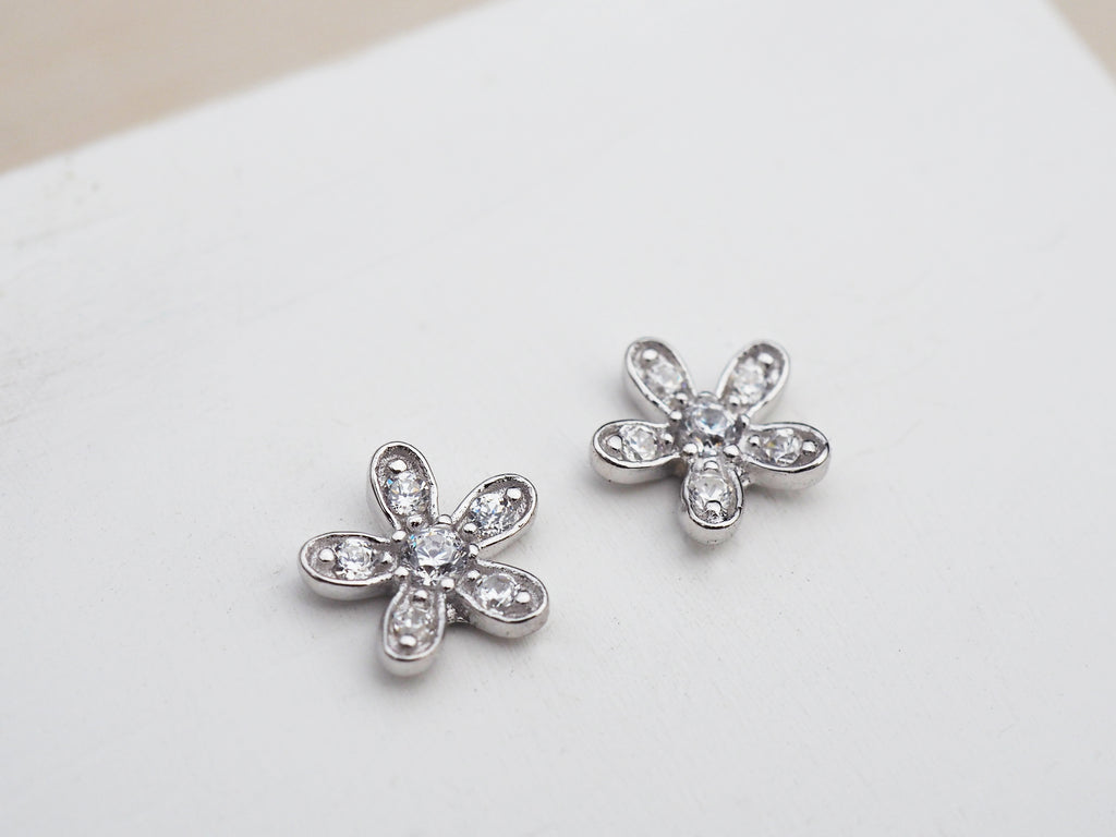 Sterling Silver Flower Studs | Cubic Zirconia