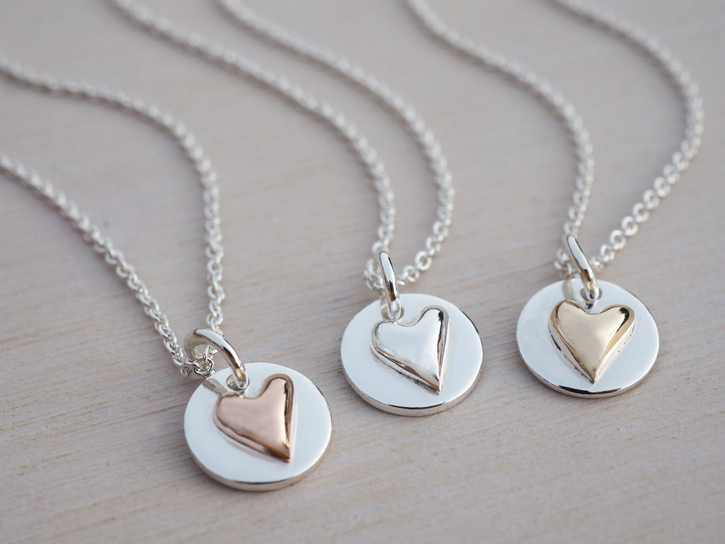 Tiny Silver Heart & Circle Necklace | Sterling Silver