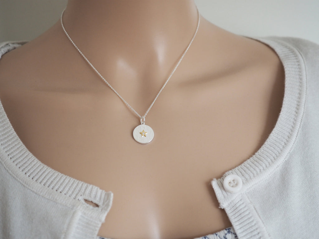 Gold Star & Silver Disc Pendant | Sterling Silver Necklace