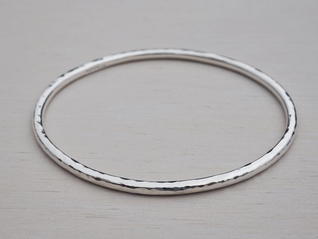 Hammered Solid Silver Bangle, Sterling Silver