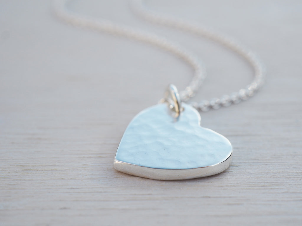 Hammered Silver Heart Necklace | Solid Sterling Silver
