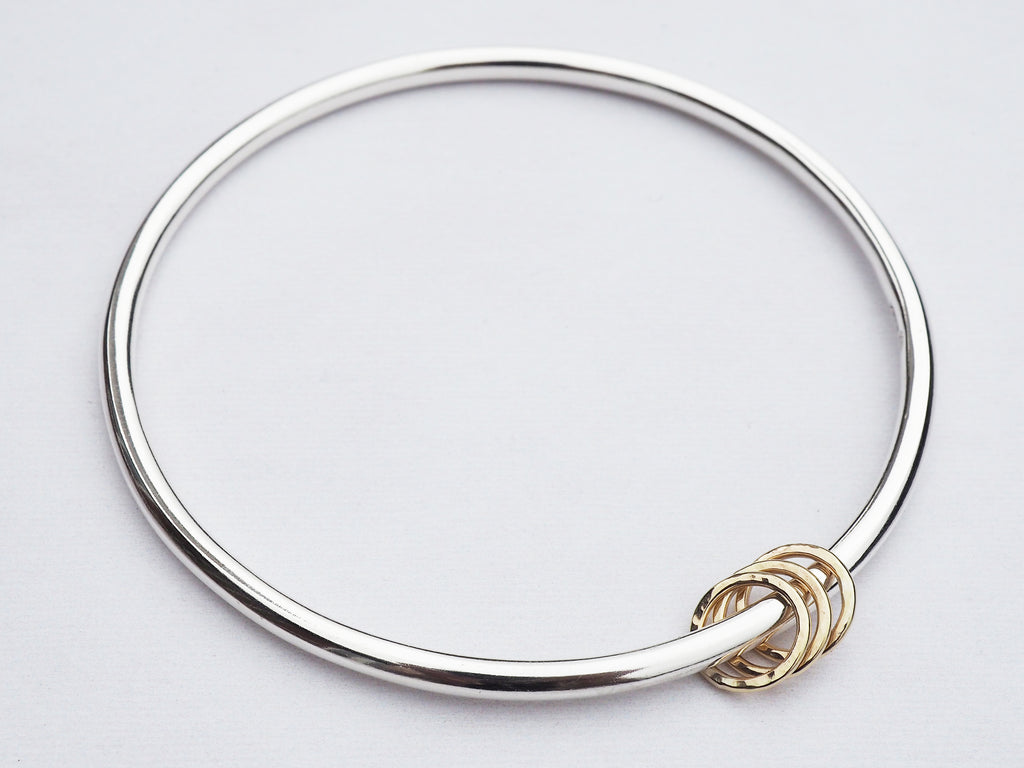 Solid Silver Bangle & 3 Gold Rings | Sterling Silver | 9ct Gold