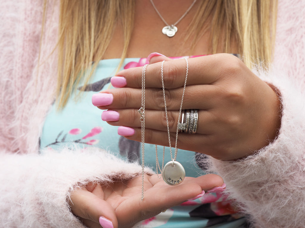 Silver Word Pebble Necklace | Personalised | Sterling Silver