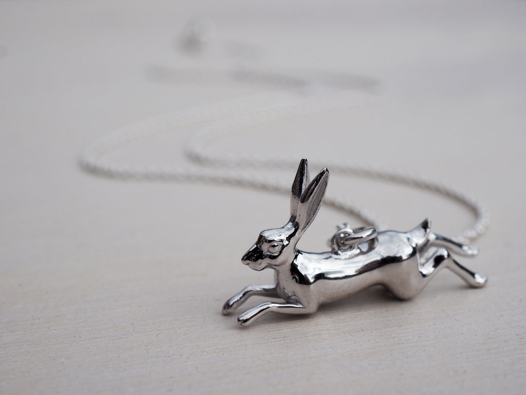 Leaping Hare Necklace | Sterling Silver
