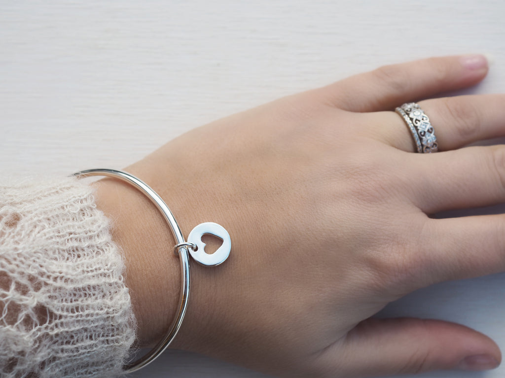 Solid Silver Bangle & Heart Charm | Sterling Silver