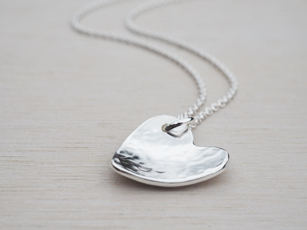 Silver Heart Necklace | Hammered | Sterling Silver
