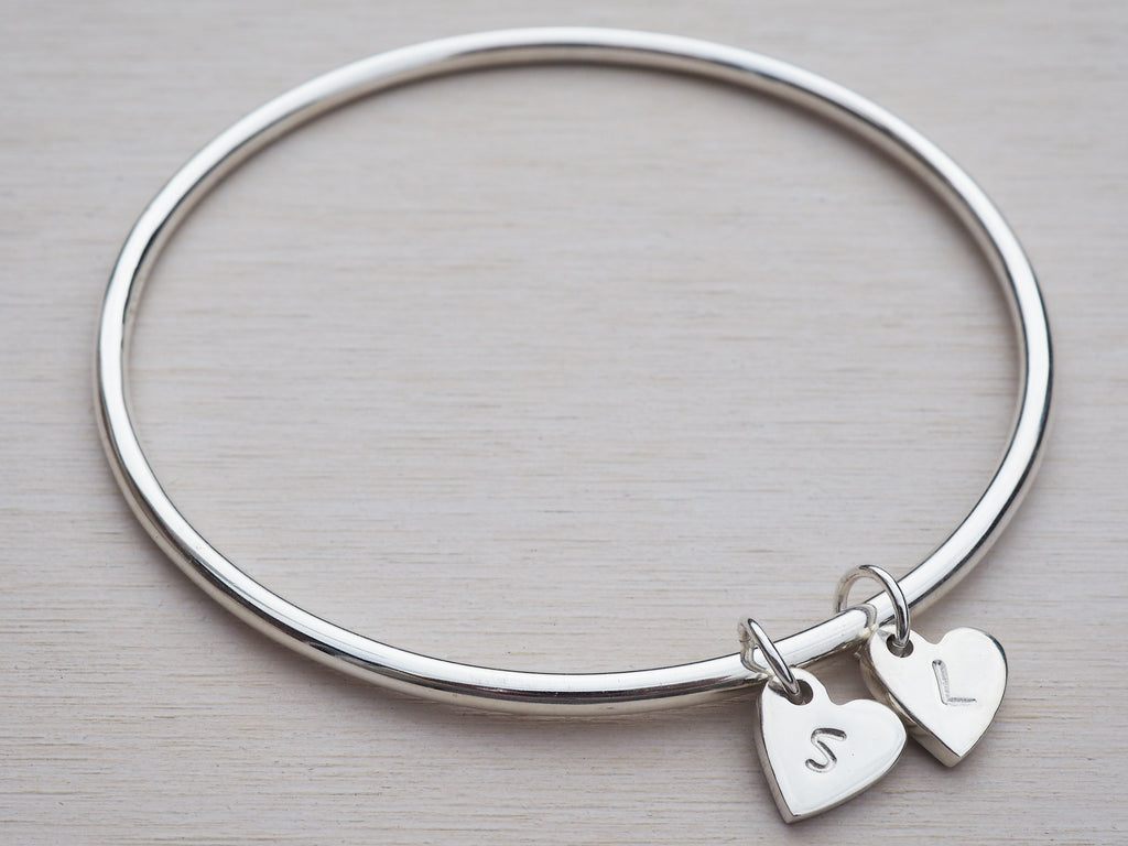 Silver Heart & Initial Bangle | Sterling Silver | Personalised