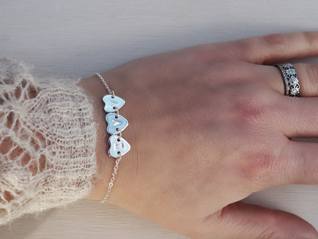 Personalised Silver Heart & Initial Bracelet | Sterling Silver