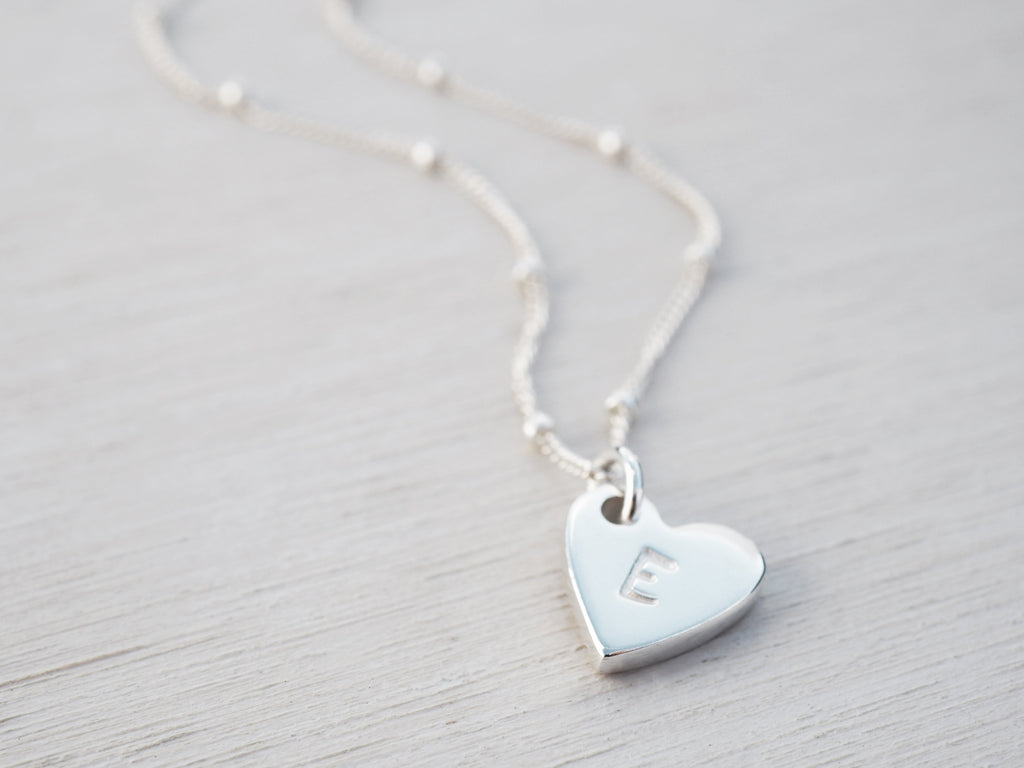Silver Heart Necklace | Personalised | Sterling Silver | Satellite Chain