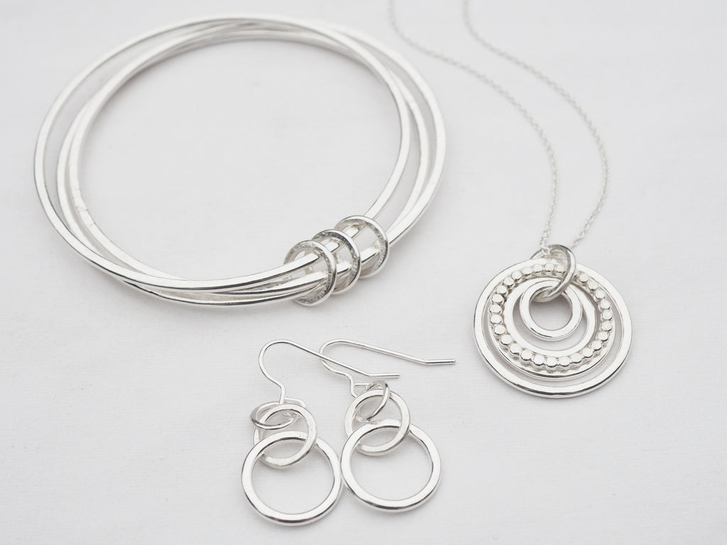 Texured Hoops Necklace | Sterling Silver