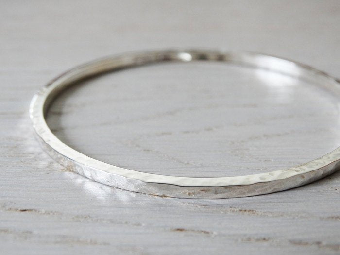 Silver Bangle, Solid Silver Hammered Bangle, Sterling Silver