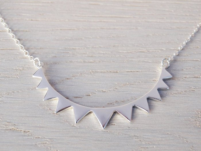 Tiny Silver Bunting Necklace - Sterling Silver