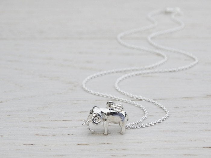 Silver Elephant Necklace, Sterling Silver