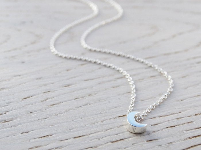 Tiny Silver Moon Necklace - Sterling Silver