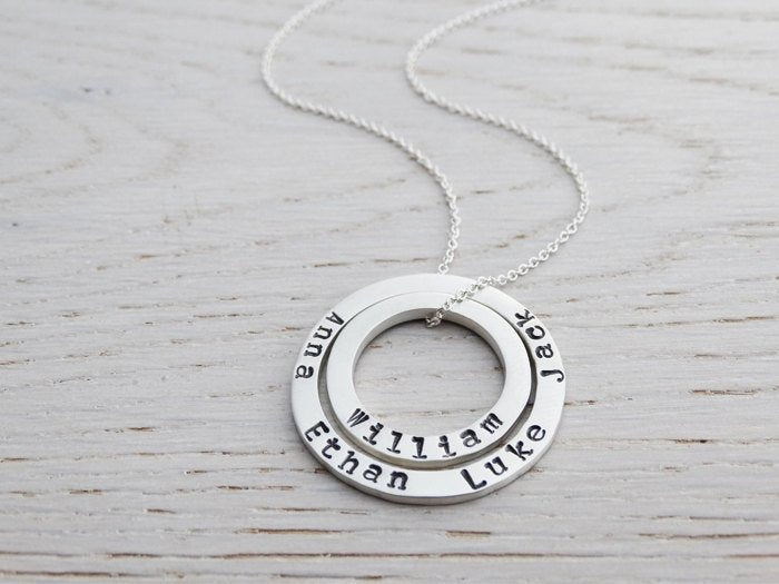 Personalised Double Silver Circle Necklace With Hand Stamped Names | Sterling Silver