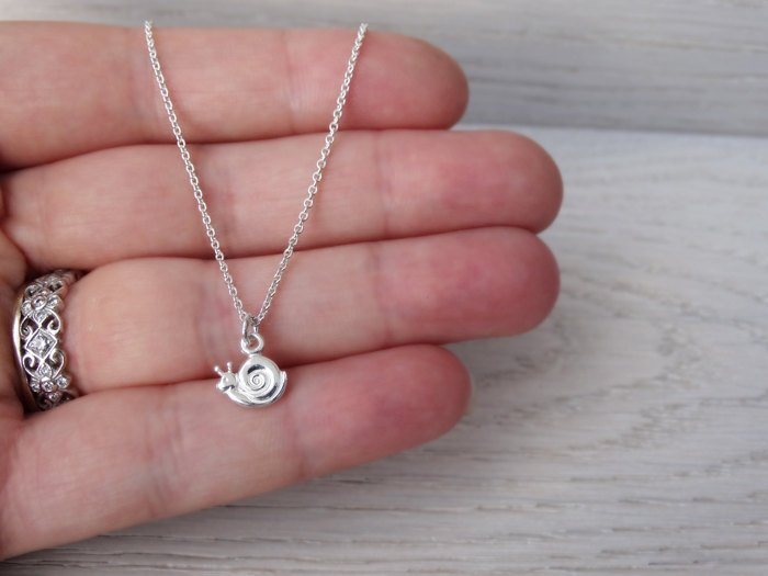 Tiny Silver Snail Necklace - Childrens Jewellery - Sterling Silver